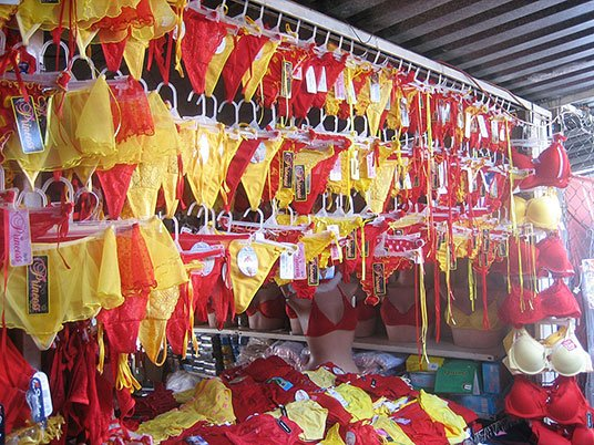Photo of red and yellow underwear in Mexican shop