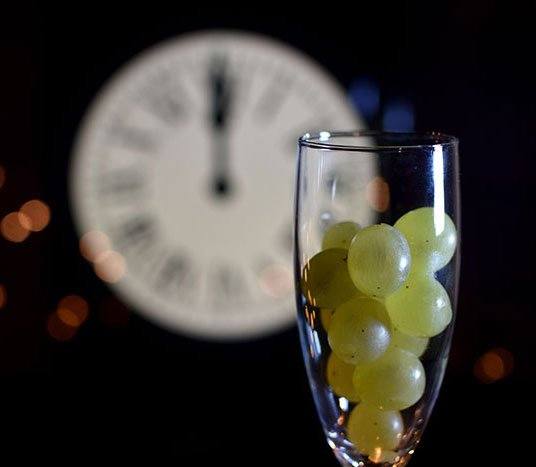 Grapes in a champagne glass during Mexican New Year